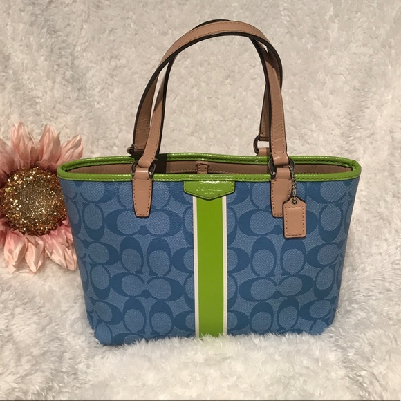 Coach Handbags - Coach Sky Blue and Green Mini Tote Handbag c4ebc4a487fdb